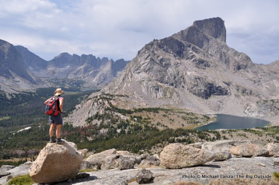 Shelli Johnson below Lizard Head Peak, on a 27-mile dayhike across Wyoming's Wind River Range.
