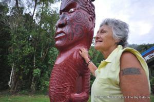 Mereana Matekingi Lewis at Tieke Kainga, a Maori marae, Whanganui River.