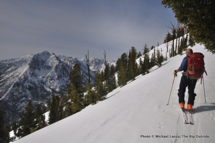 Skiing above Redfish Valley.