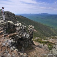 Mark Fenton hiking Franconia Ridge, White Mountains.