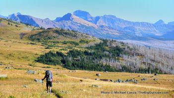 Backpacker, Highline Trail, Glacier National Park.