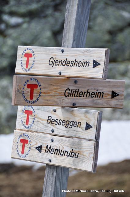 Sign along Besseggen Ridge Trail, Jotunheimen