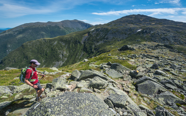 Mark Fenton hiking the Appalachian Trail in the Presidential Range, N.H.