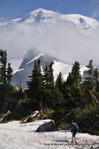 Hiking across Spray Park, below Mount Rainier.