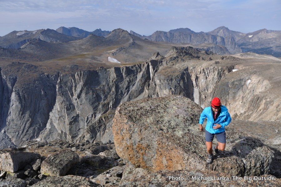 A hiker on Mount Chauvenet in the Wind River Range.