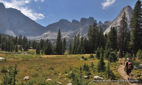 Hiking the North Fork Trail toward the Cirque of the Towers.