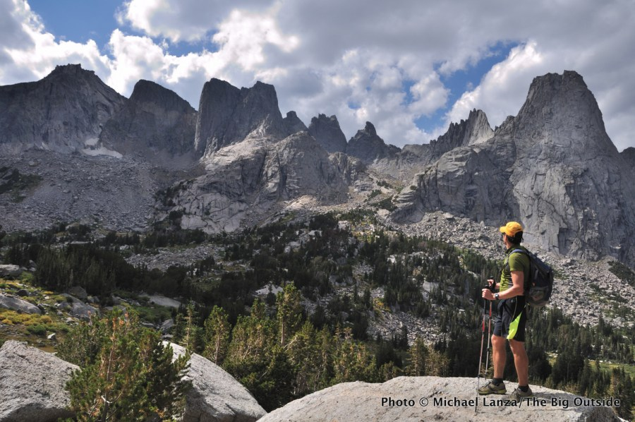 A hiker in the Cirque of the Towers in the Wind River Range.