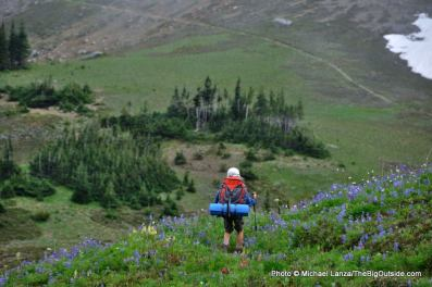 A young boy backpacking the Wonderland Trail in Mount Rainier National Park.
