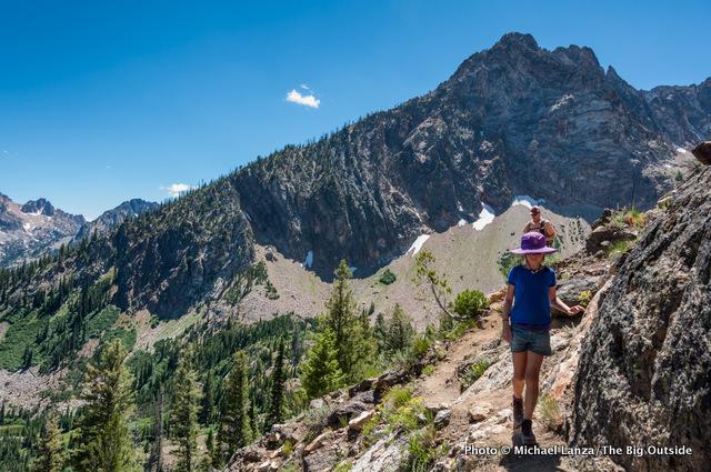 Hiking below Thompson Peak, Sawtooth Mountains, Idaho.