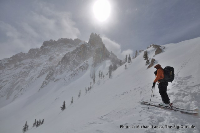 Backcountry skiing in the Sawtooth Mountains, Idaho.