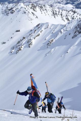 Backcountry skiing Red Mountain, Wallowa Mountains, Oregon.