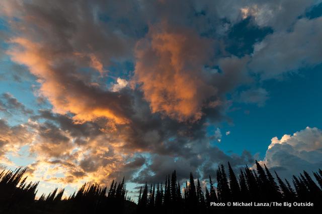 Sunset above Upper Lyman Lakes basin, Glacier Peak Wilderness, Washington.