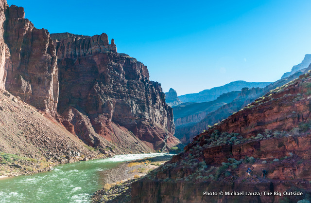 Backpackers on the Tonto Trail, above the Colorado River, Grand Canyon National Park.