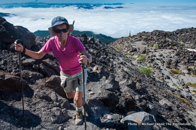 My 76-year-old mom hiking Monitor Ridge, Mount St. Helens, Washington.
