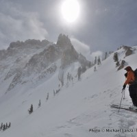 Skiing below Mount Heyburn, Sawtooth Mountains, Idaho.