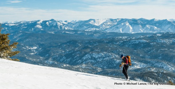 Backcountry skiing Pilot Peak, Idaho.