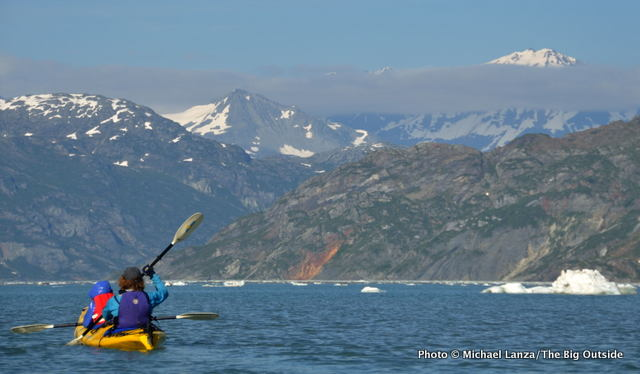 Kayaking in Johns Hopkins Inlet, Glacier Bay.