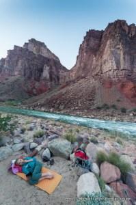 Campsite by the Colorado River, Grand Canyon.