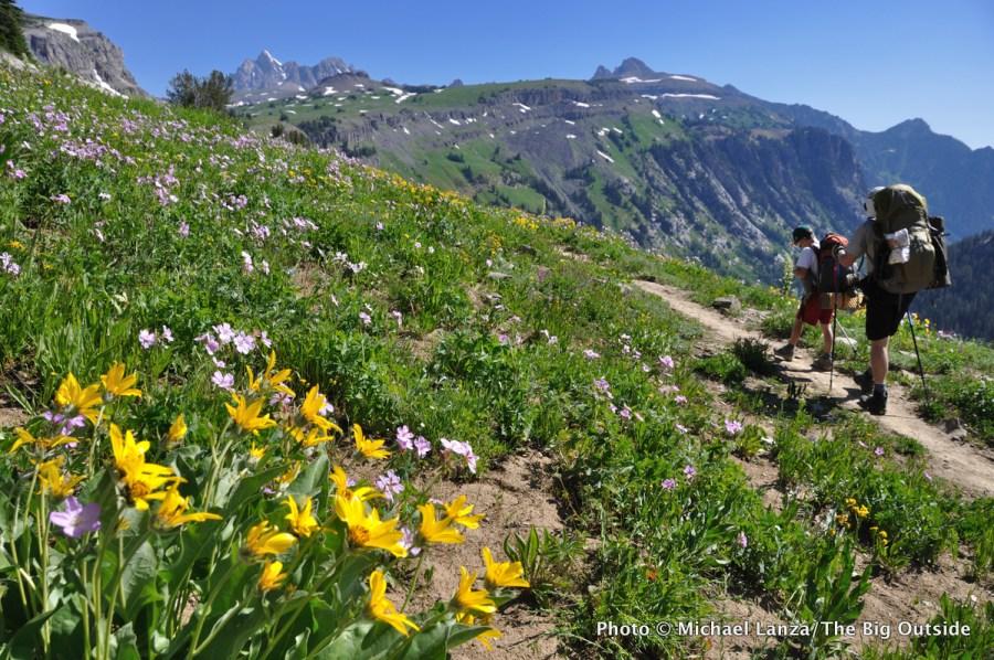 Backpackers on the Teton Crest Trail on Death Canyon Shelf, Grand Teton National Park.