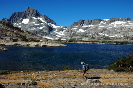 Banner Peak above Thousand Island Lake on the John Muir Trail in the Ansel Adams Wilderness of California's High Sierra.