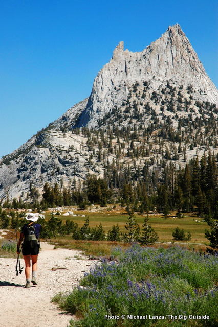 Hiking the John Muir Trail below Cathedral Peak in Yosemite National Park.