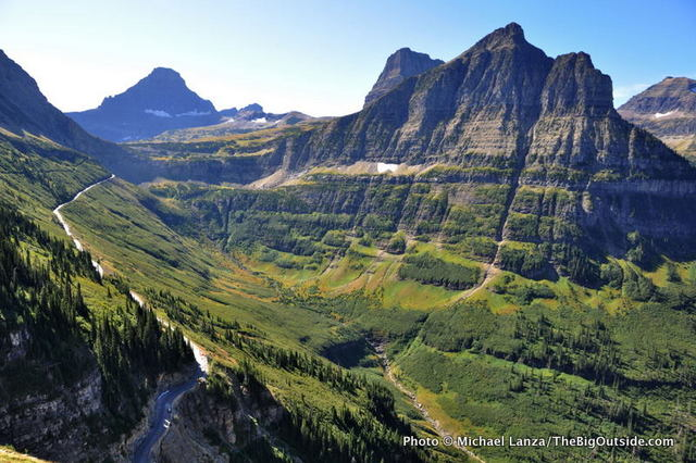 View from the Highline Trail toward Logan Pass and the Going-to-the-Sun Road.