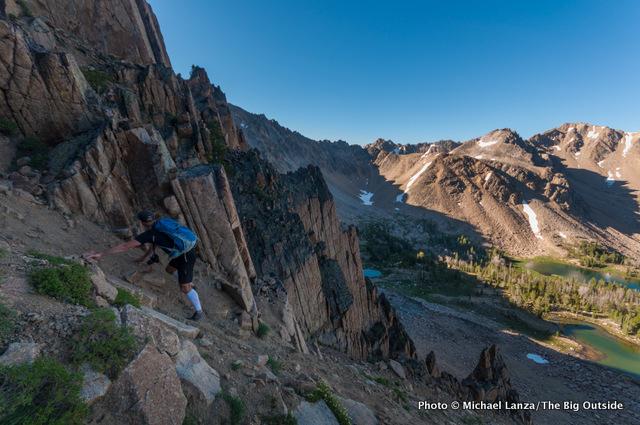 Off-trail scramble above Born Lakes.