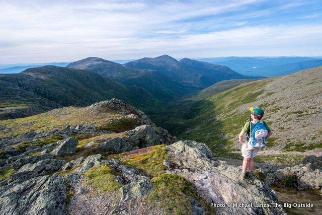 My son, Nate, enjoying the view of the Northern Presidential Range while hiking up Mount Washington, N.H.