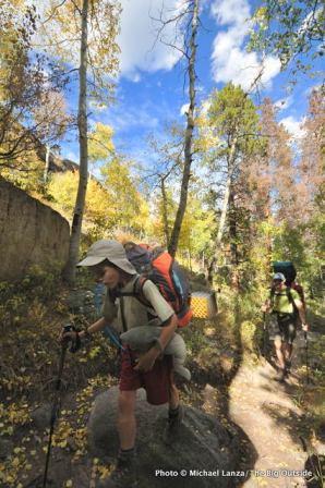 Hiking to Siskin camp in Wild Basin.