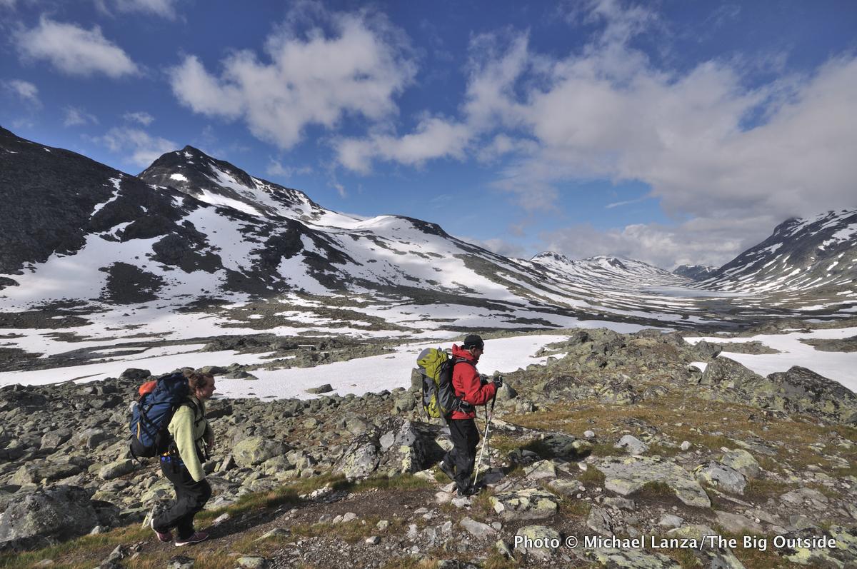 Trekkers above Olavsbu Hut in Norway's Jotunheimen National Park.