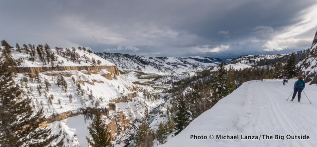 Skiing to Tower Falls in Yellowstone National Park.