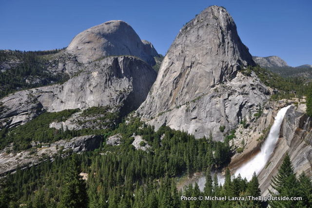 Half Dome, Liberty Cap, and Nevada Fall, from the John Muir Trail in Yosemite.