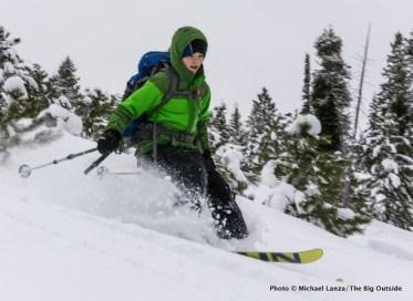 Backcountry skiing near Banner Ridge yurt.