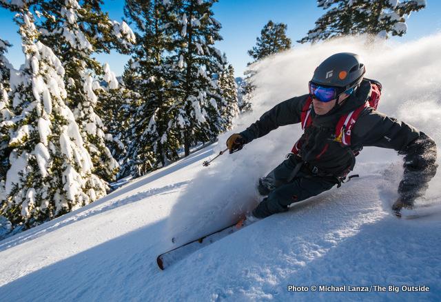 Backcountry skiing on Freeman Peak, Boise Mountains, Idaho.