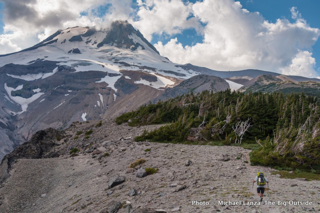 A backpacker on the Timberline Trail around Oregon's Mount Hood.