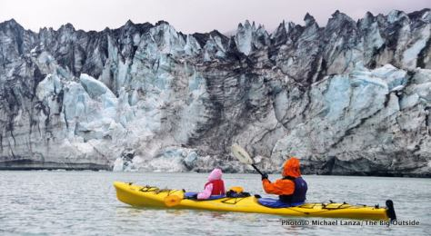 Kayaking past the Lamplugh Glacier, Glacier Bay National Park.