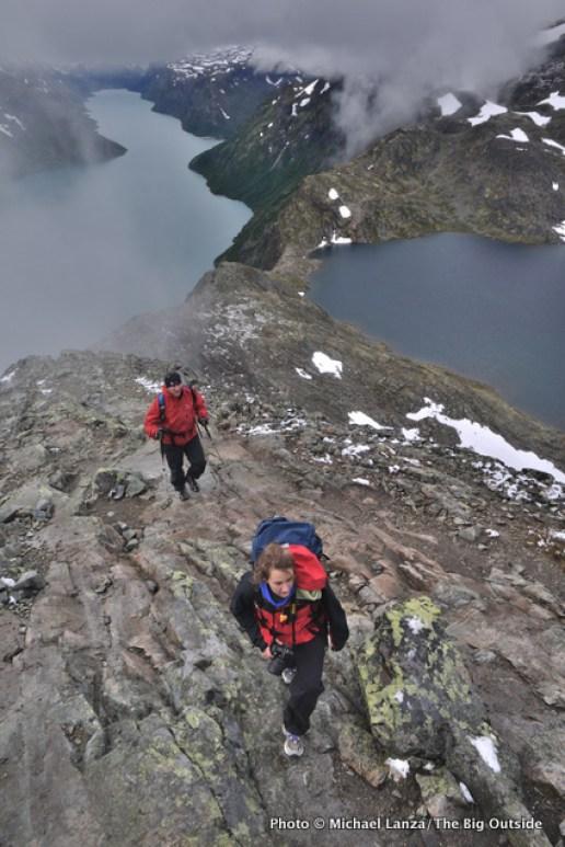 Hikers on Besseggen Ridge in Norway's Jotunheimen National Park.