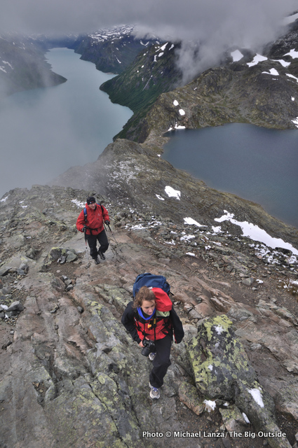 Hikers on Besseggen Ridge in Norway's Jotunheimen National Park.