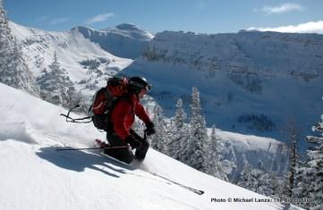Skiing Zimbabwe Ridge, Teton Range.