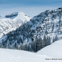 Skiing the ridge east of Baldy Knoll.