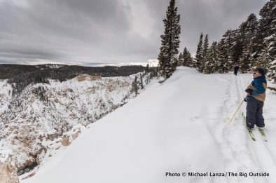 Cross-country skiing the Rim Trail, Grand Canyon of the Yellowstone River, Yellowstone National Park.