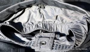 Gaiter sewn into cuffs.