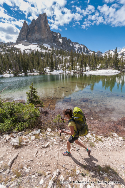 Jan Roser backpacking below El Capitan, Sawtooth Mountains, Idaho.