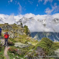 Trekkers on the Europaweg, or Europa Trail, Swiss Alps.