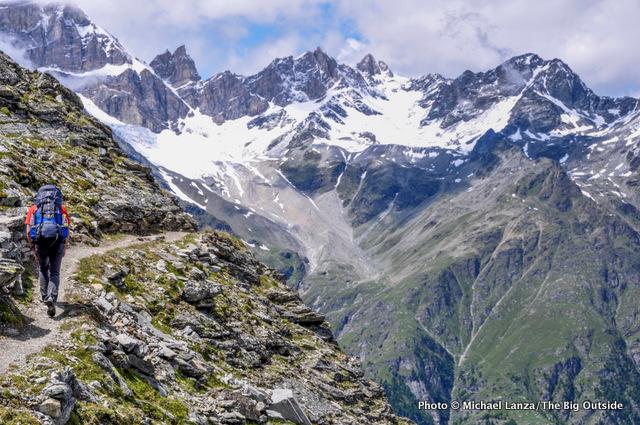 Trekking the Europaweg, or Europa Trail, in the Swiss Alps.