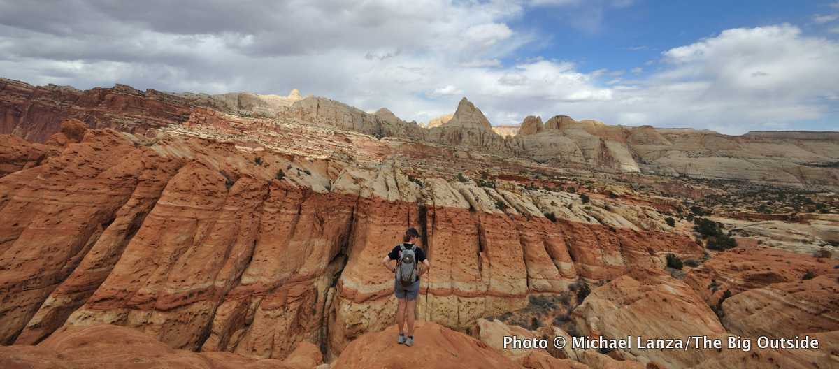 A hiker near the Frying Pan Trail in Capitol Reef National Park, Utah.