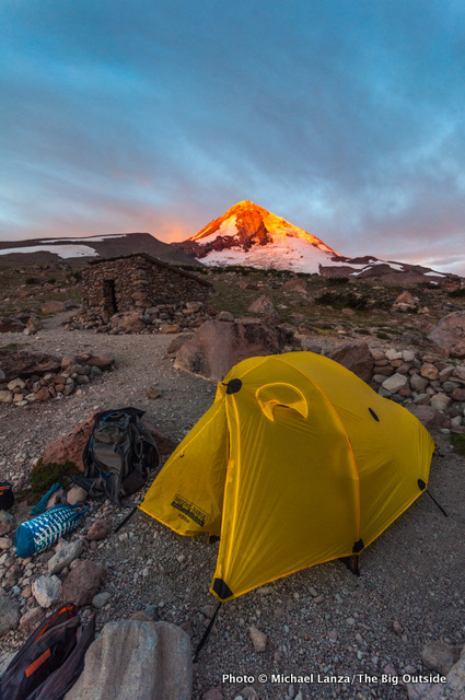 A campsite below Mount Hood on the Timberline Trail.