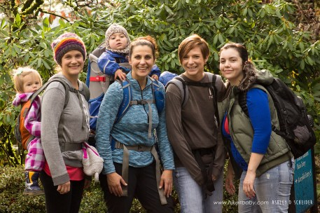 Lisa Rawdin, Shanti Hodges, Mariah Brown and Sierra Wendorff hiking with their babies in Portland's Forest Park.