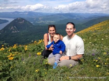 Shanti, Mark, and Mason Hodges on Dog Mountain, Washington.