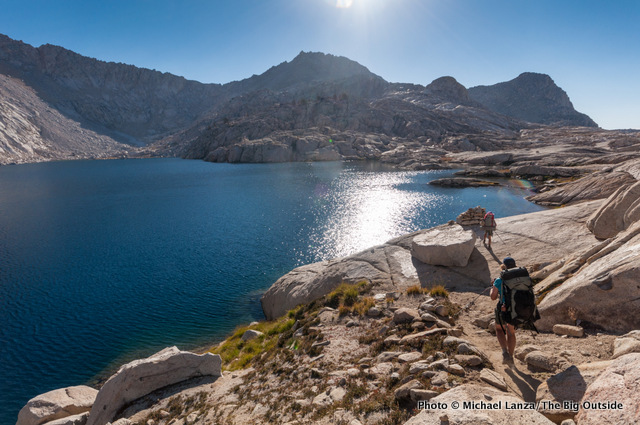 Backpackers at Columbine Lake, Sequoia National Park.